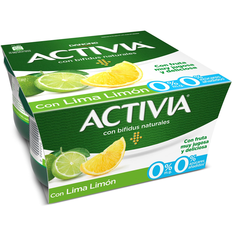 Yogur bífidus desnatado con lima y limón Danone Activia pack de 4 unidades de 125 g. -