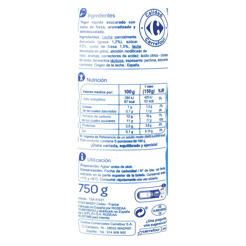 Yogur semidesnatado líquido de fresa Carrefour 750 g. -