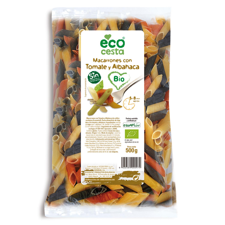 Macarrones ecológicos Ecocesta tomate y albahaca 500 g.