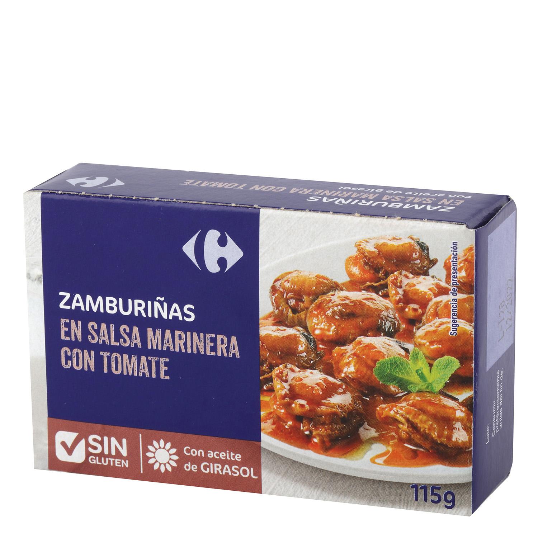 Zamburiñas en salsa marinera con tomate Carrefour sn gluten 115 g.