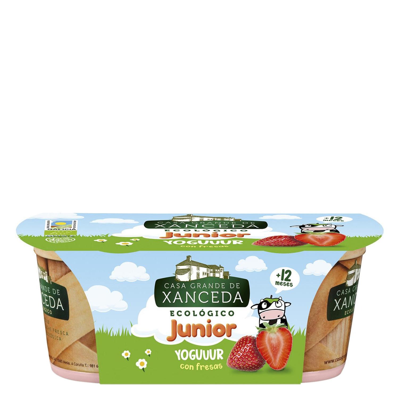 Yogur con fresas ecológico  Junior Casa Grande de Xanceda pack de 2 unidades de 125 g.