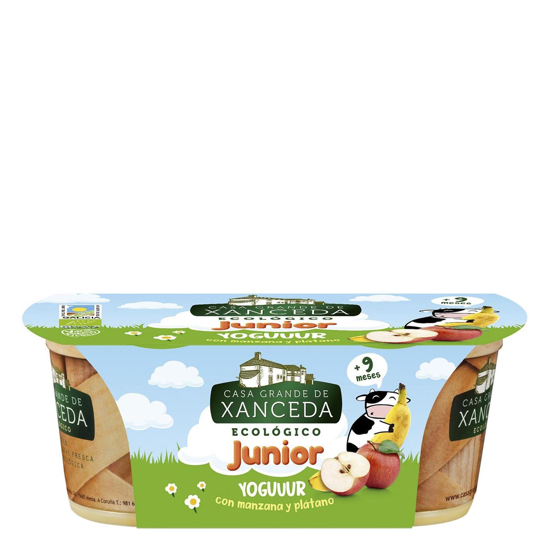 Yogur con manzana y plátano ecológico Casa Grande de Xanceda pack de 2 unidades de 125 g.