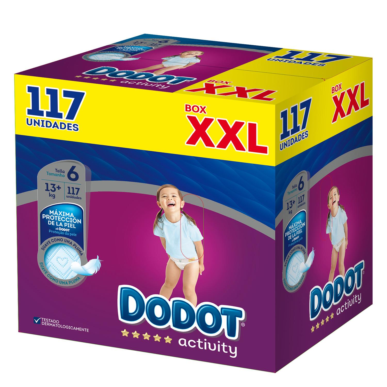 Pañales T6 (+13 kg.) XXL Dodot Activity 117 ud.