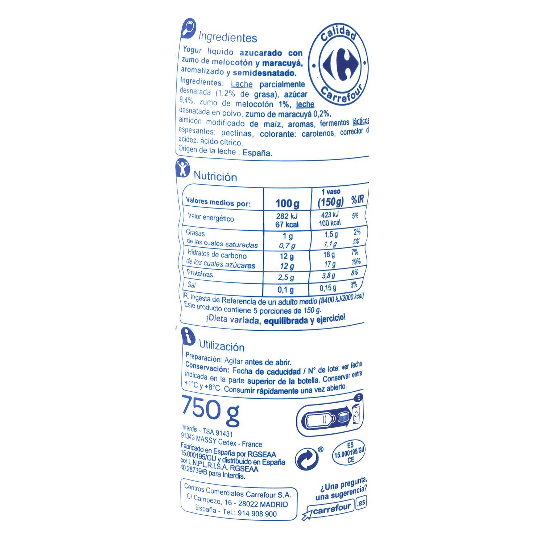 Yogur semidesnatado líquido de melocotón y maracuyá Carrefour 750 g. -