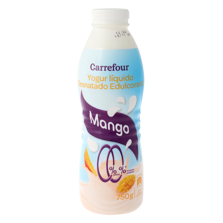 Yogur desnatado líquido edulcorado de mango Carrefour 750 g.