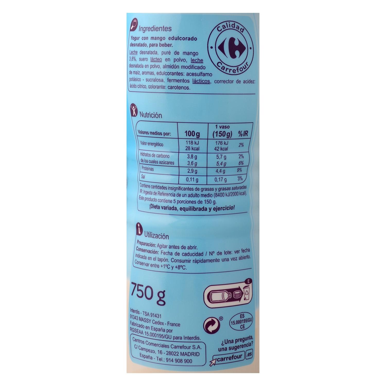 Yogur desnatado líquido edulcorado de mango Carrefour 750 g. - 2