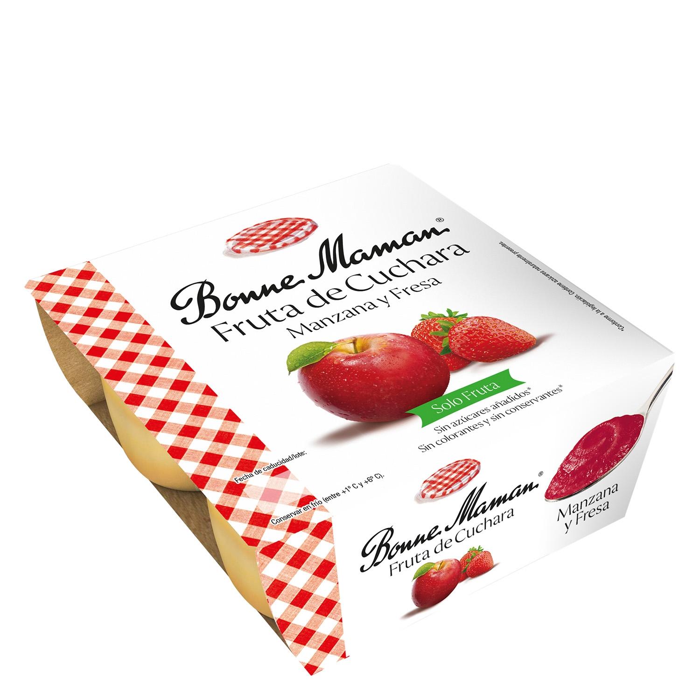 Fruta de cuchara manzana y fresa Bonne Maman pack de 4 unidades de 100 g.