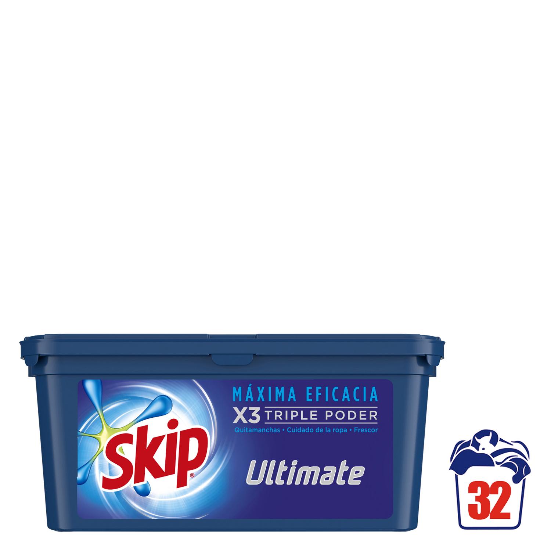 Detergente doble acción en cápsulas Ultimate Skip 32 ud.