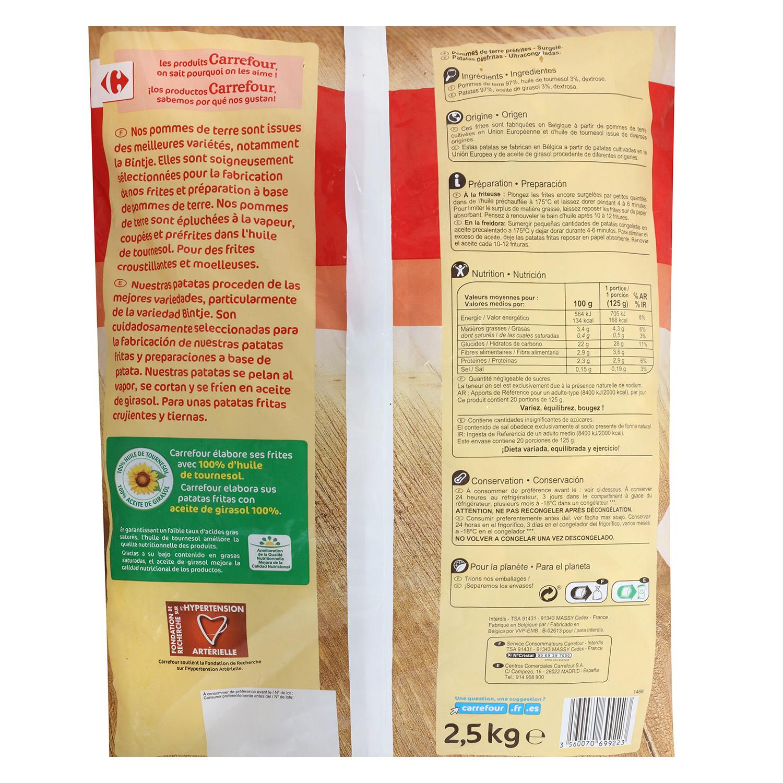 Patatas fritas clásicas congeladas Carrefour 2,5 kg. -