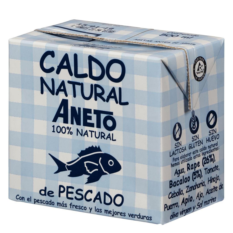 Caldo natural de pescado Aneto sin gluten 500 ml.