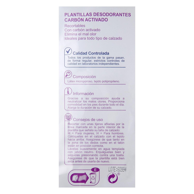 Plantillas desodorante de Carbón Activado Producto blanco 1 par. - 2
