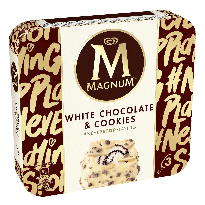 Bombón helado de chocolate blanco y cookies Magnum pack de 3 unidades de 74 g.