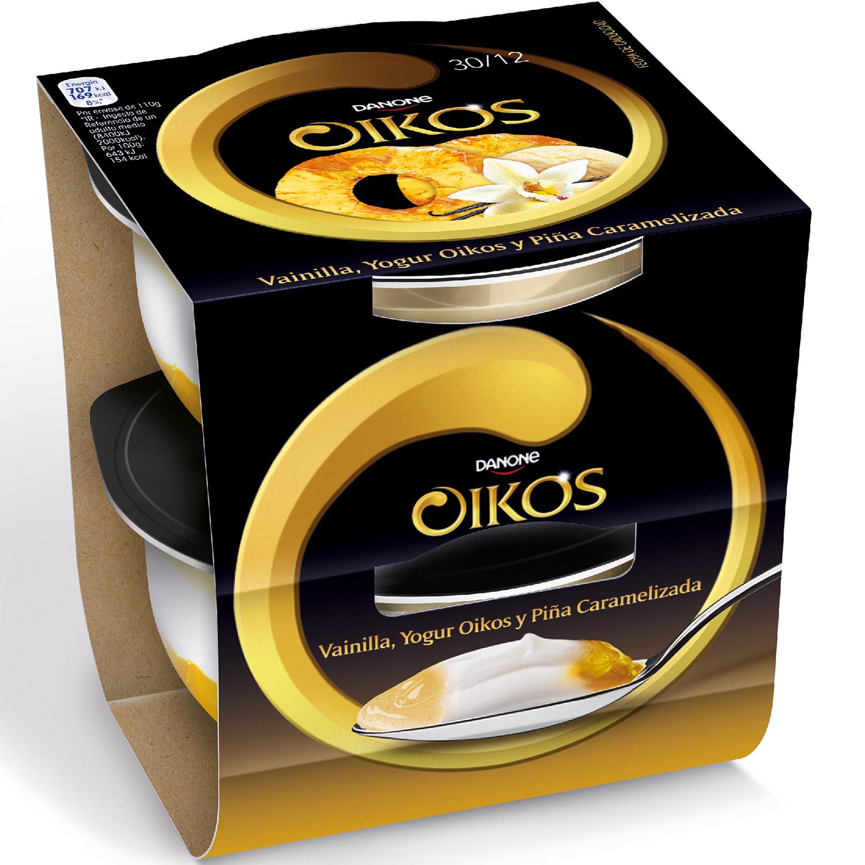 Yogur griego con vainilla y piña caramelizada Danone Oikos sin gluten pack de 2 unidades de 115 g.