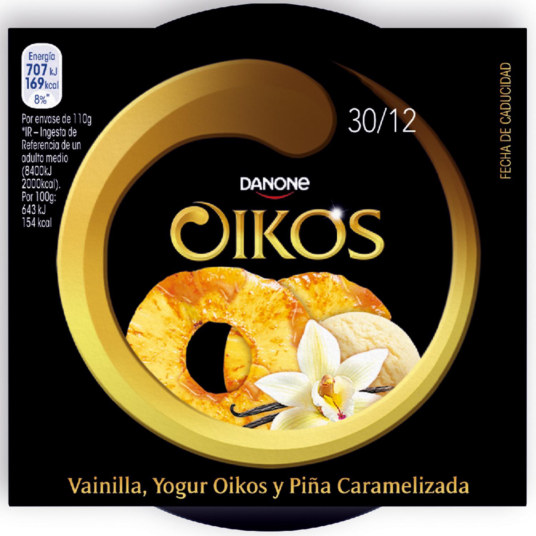 Yogur griego con vainilla y piña caramelizada Danone Oikos sin gluten pack de 2 unidades de 115 g. - 3