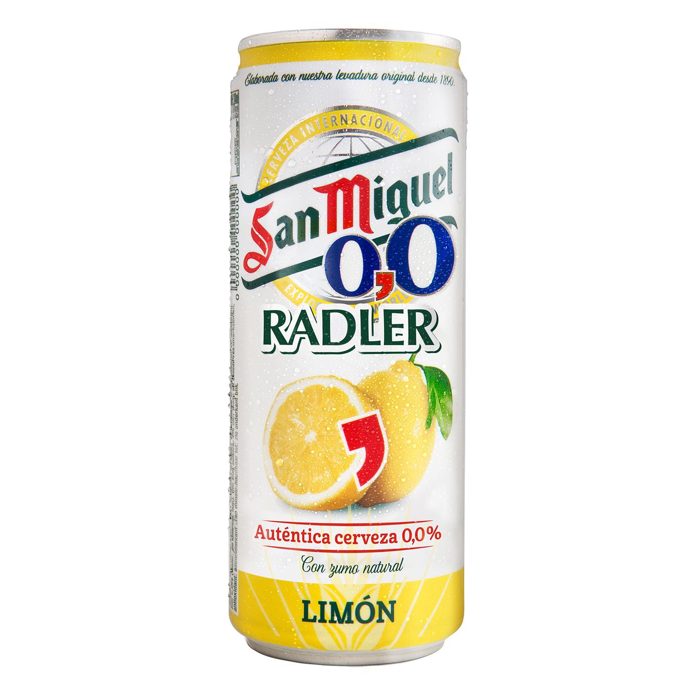 Cerveza San Miguel 0,0 sin alcohol con zumo de limón lata 33 cl.