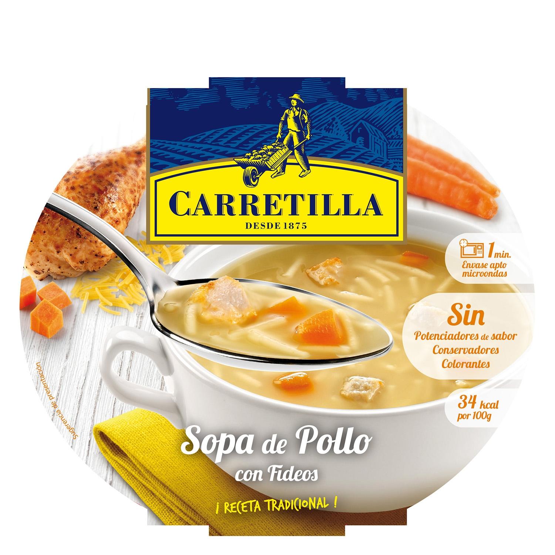 Sopa de pollo con fideos Carretilla 350 g.