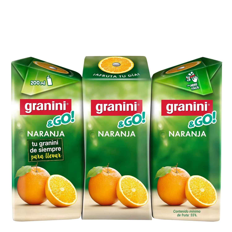 Néctar de naranja Granini pack de 3 briks de 20 cl.