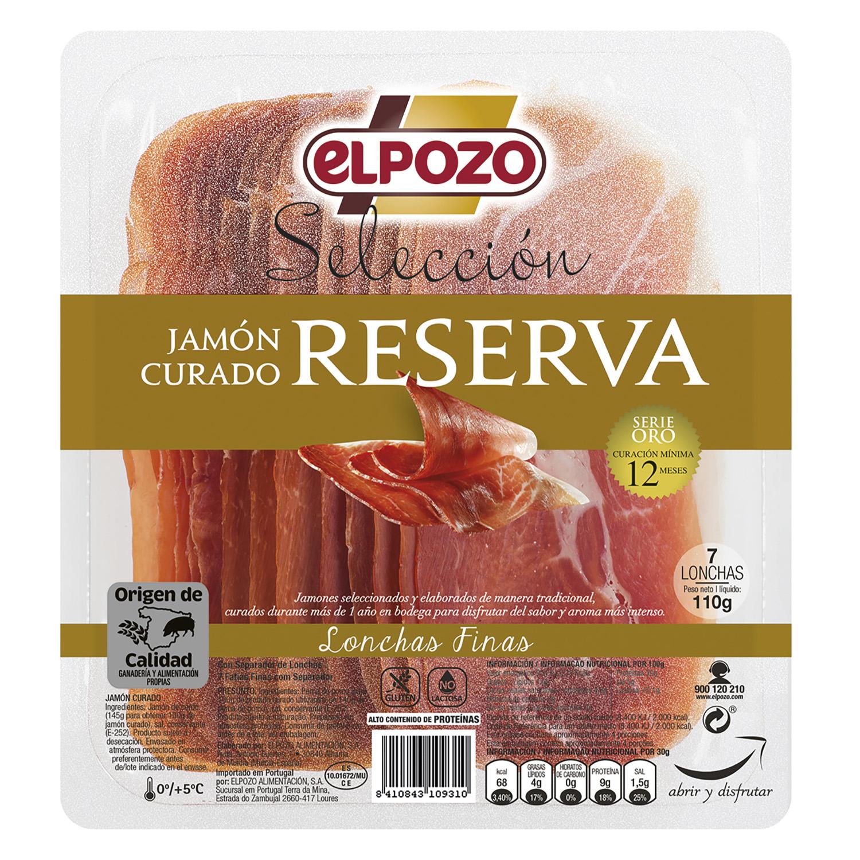 Jamón curado reserva selección lonchas finas El Pozo 110 g.