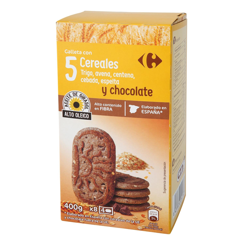 Galletas de desayuno con 5 cereales y chocolate