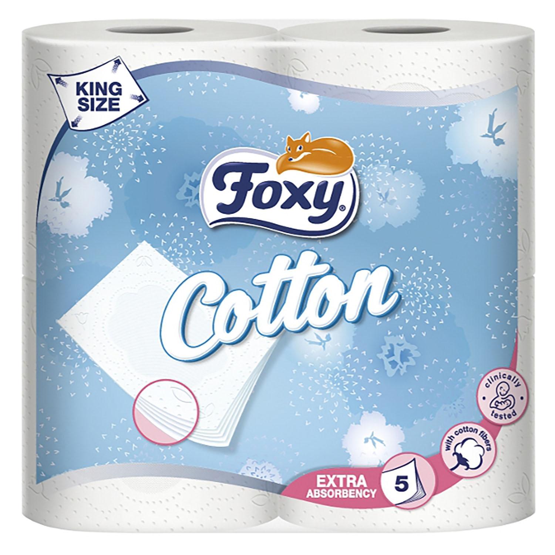 Papel higiénico 5 capas Cotton Foxy 4 rollos.