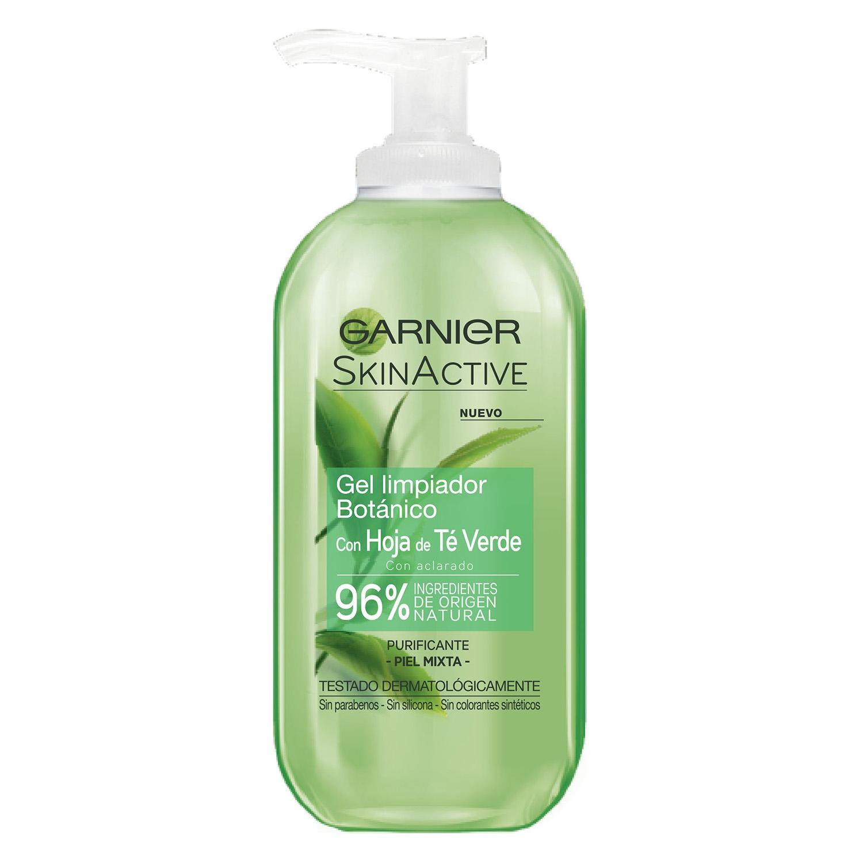 Gel limpiador botánico con hoja de té verde piel mixta Garnier-Skin ...