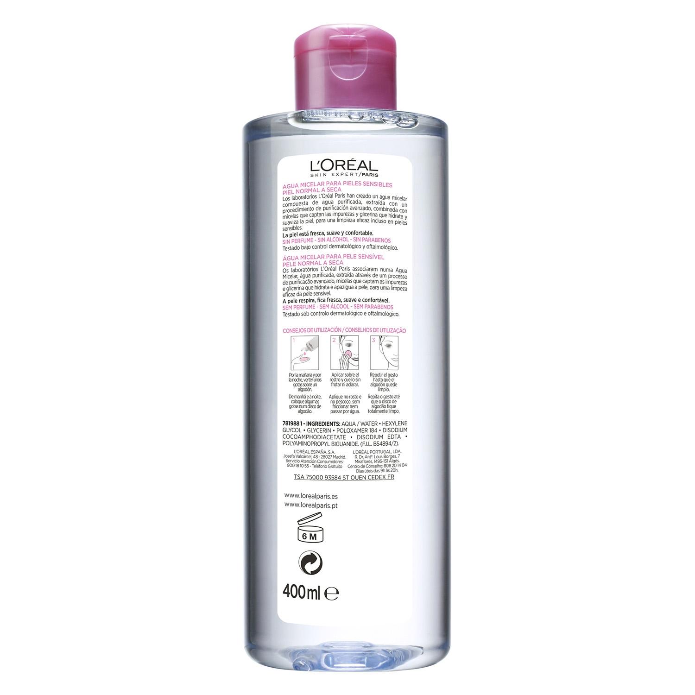 Agua micelar suave para pieles sensibles normales a secas -