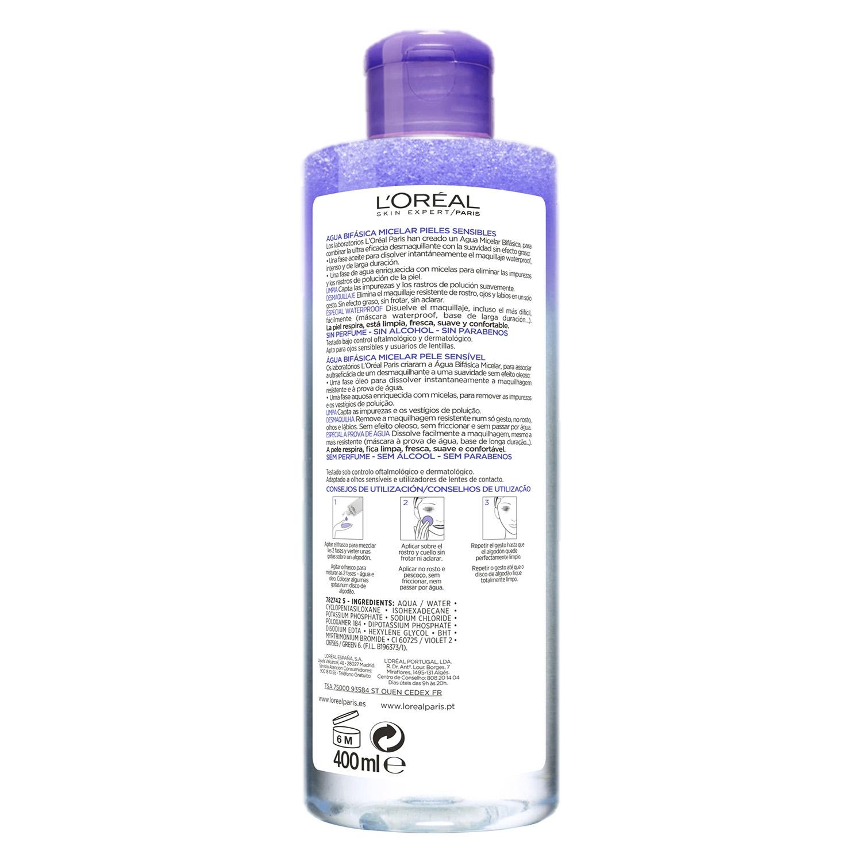 Agua micelar bifásica para piel sensible L'Oréal Skin Expert 400 ml. -