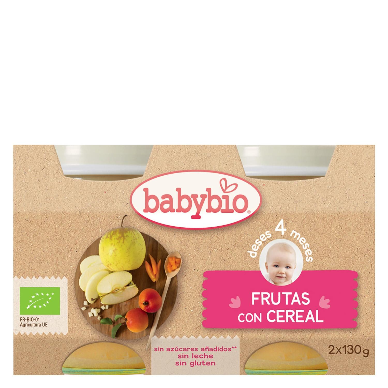 Tarrito de frutas con cereal ecológico Babybio pack de 2 unidades de 130 g.
