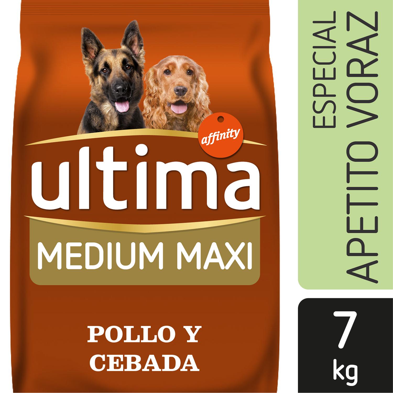 Ultima Pienso para Perro Adulto Medium - Maxi Apetito Voraz Sabor pollo y cebada 7kg. -
