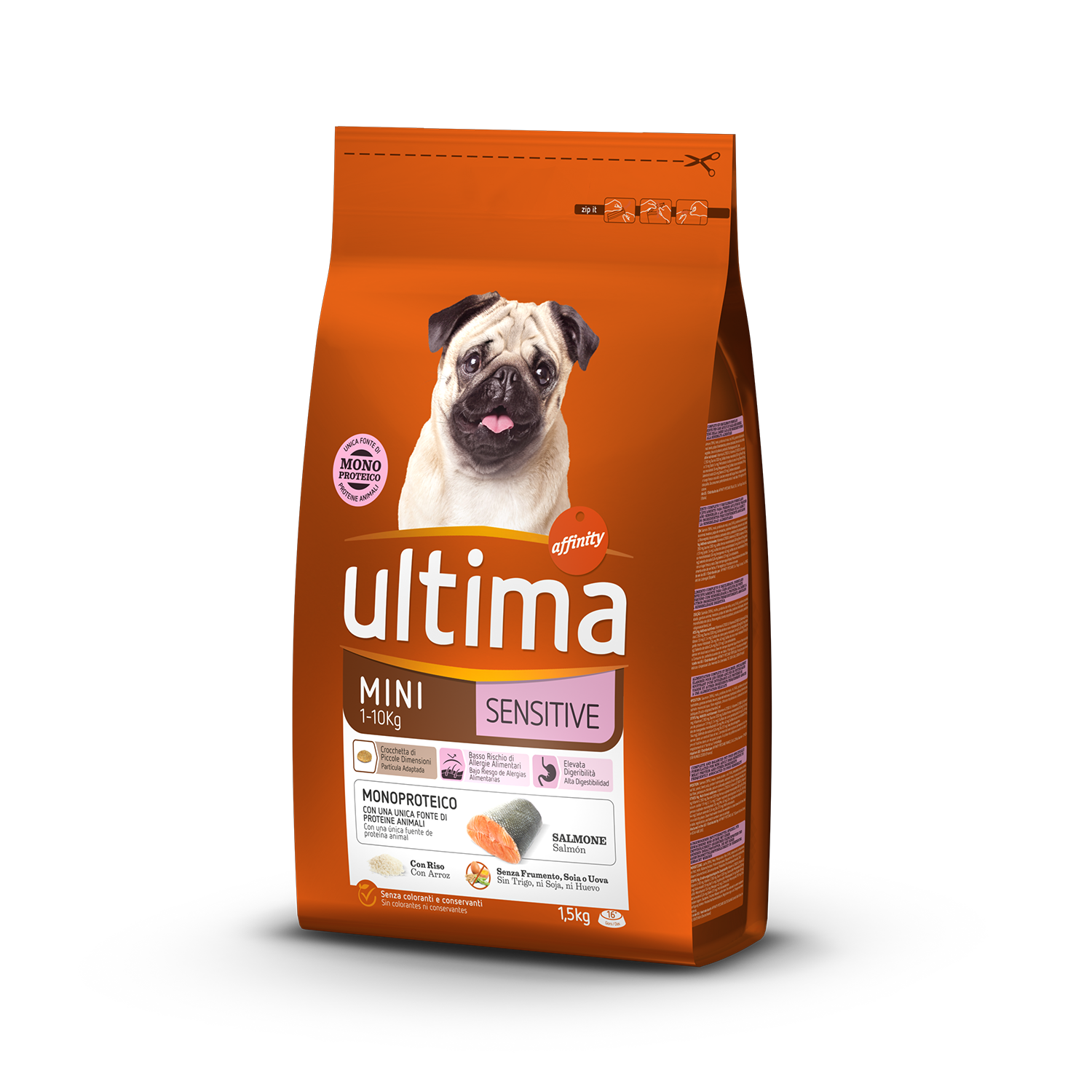Ultima Pienso para Perro Adulto Mini Sensitive Sabor salmón 1,5kg.