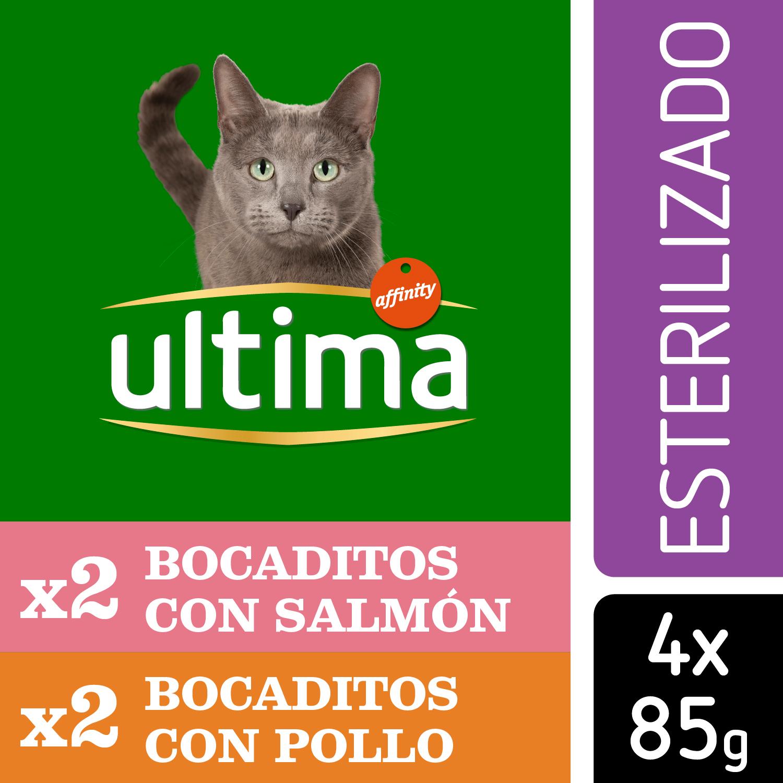 Ultima Comida Húmeda para Gato Esterilizado Sabor pollo y salmón 4x85gr. -