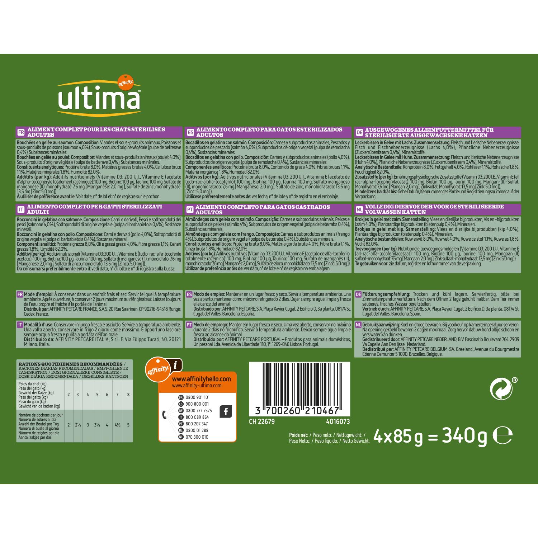 Ultima Comida Húmeda para Gato Esterilizado Sabor pollo y salmón 4x85gr. - 2