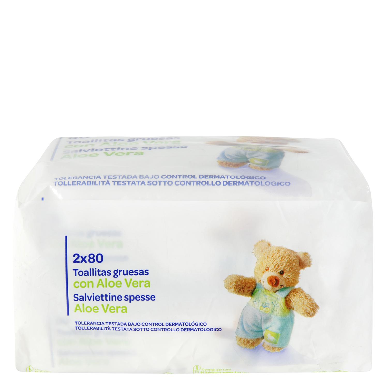 Toallitas de bebé Producto blanco pack de 2 paquetes de 80 ud.