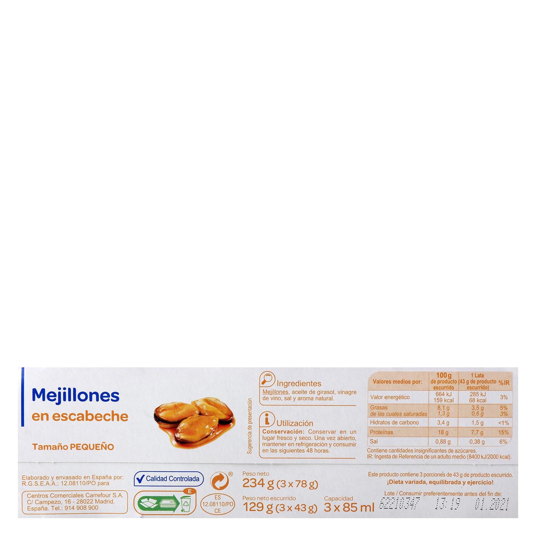 Mejillones en escabeche Producto blanco pack de 3 unidades de 78 g. - 2