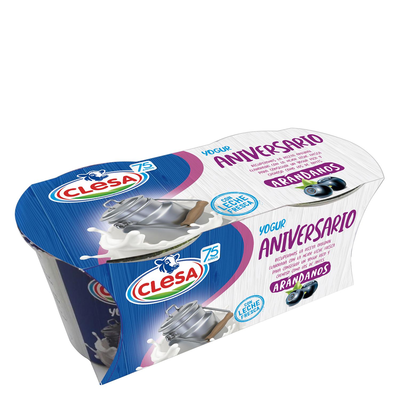 Yogur de arándanos Clesa pack de 2 unidades de 125 g.