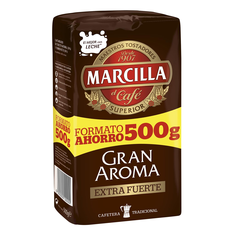 Café molido mezcla extrafuerte Gran Aroma Marcilla 500 g.