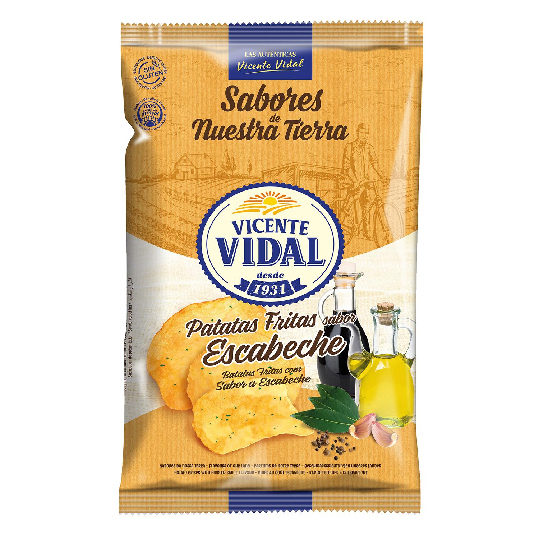 Patatas fritas sabor escabeche Vicente Vidal sin gluten 135 g.