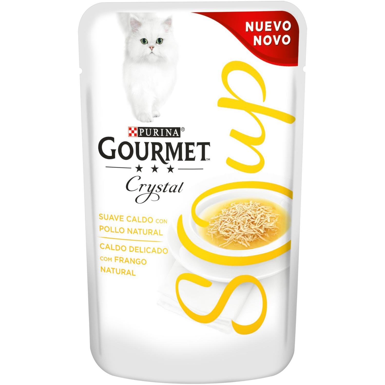 Comida para gatos en Sopa con Pollo Natural Gourmet Crystal ...