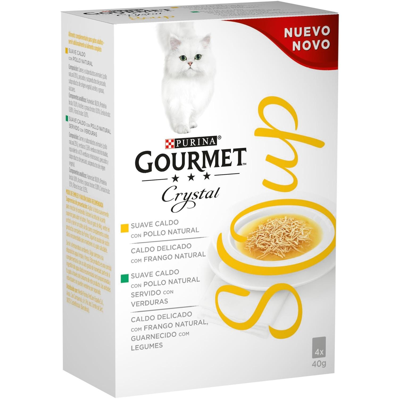 Comida para gatos en Sopa con Pollo Natural servido con Verduras
