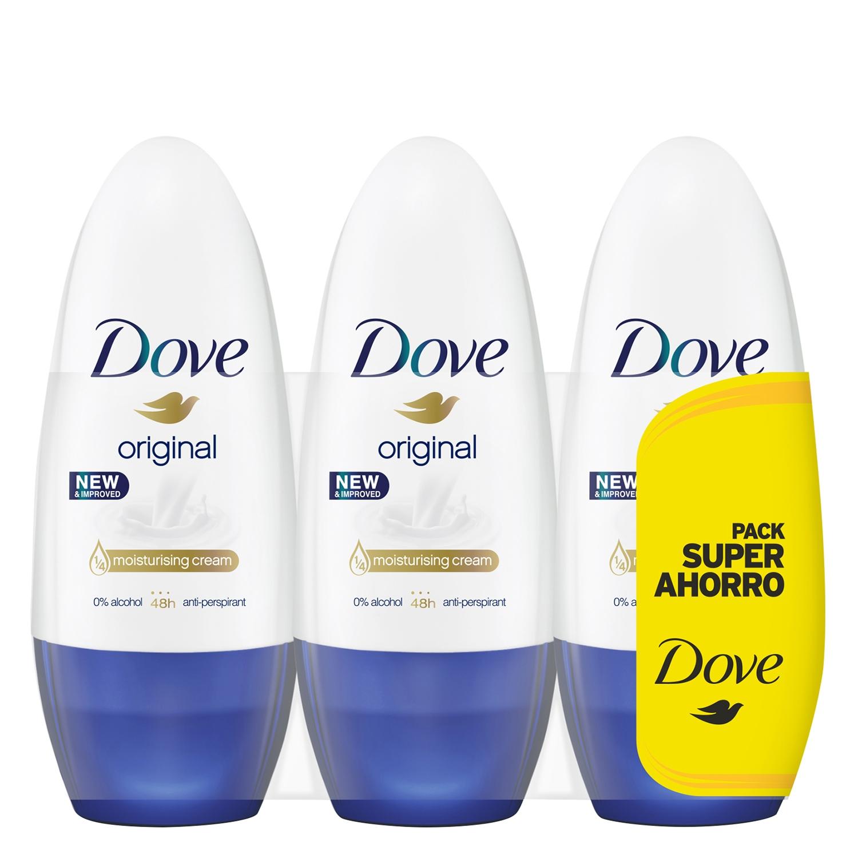 Desodorante roll-on hidratante Original Dove pack de 3 unidades de 50 ml.