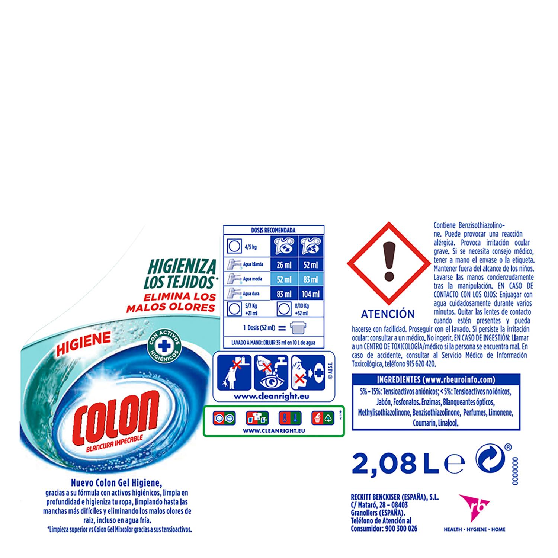Detergente líquido higiene Colon 40 lavados. -