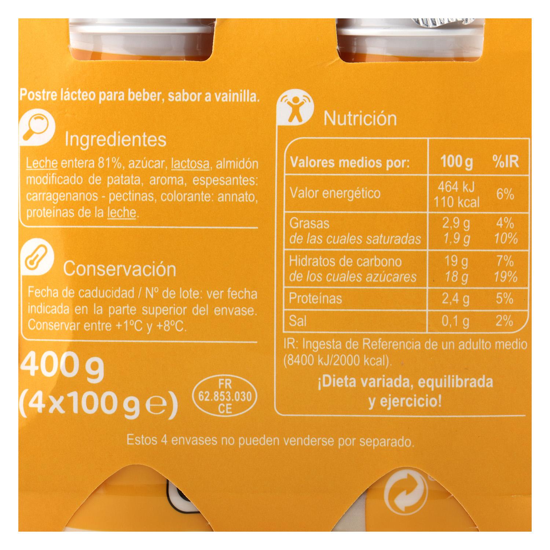 Natillas para beber de vainilla Carrefour pack de 4 unidades de 100 g. -