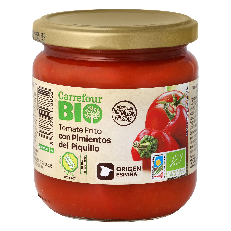 Tomate frito ecológico con pimientos de piquillo Carrefour Bio sin gluten tarro 325 g.