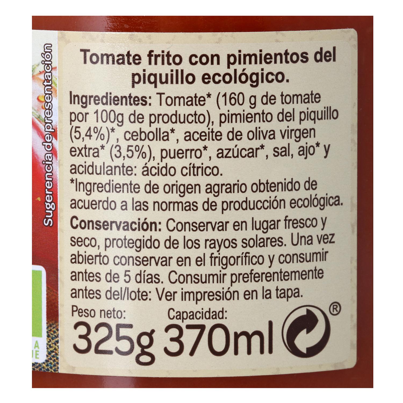 Tomate frito ecológico con pimientos de piquillo Carrefour Bio sin gluten tarro 325 g. -