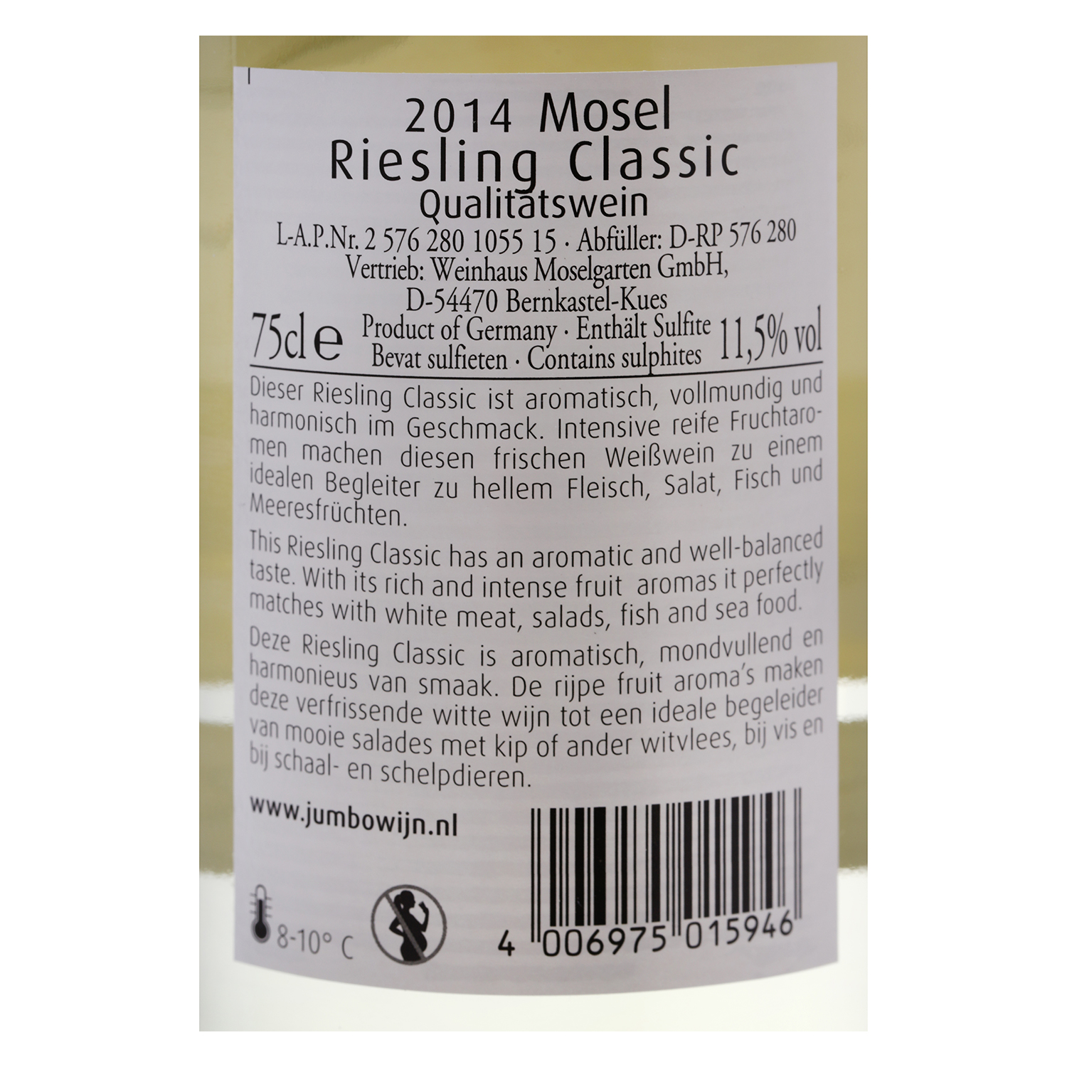 Vino alemán blanco dulce Riesling Classic -