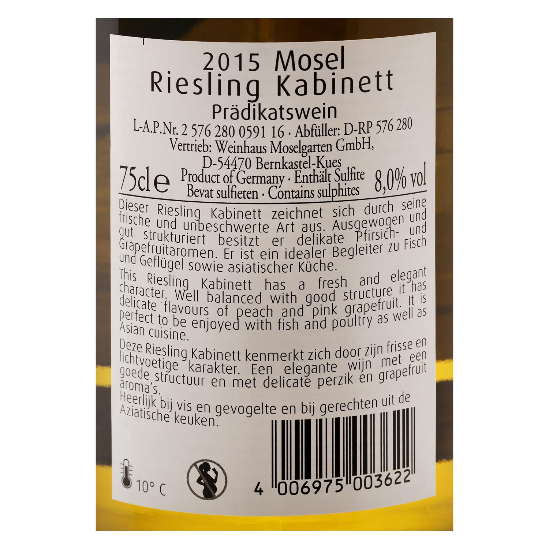 Vino alemán blanco seco Riesling Kabinett Moselgarten 75 cl. -