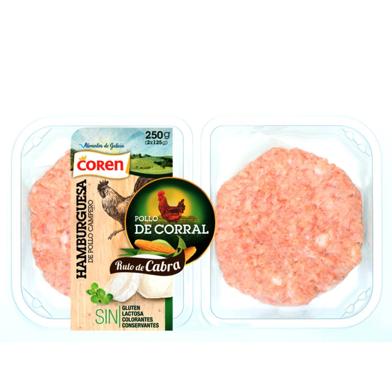 Hamburguesa de pollo de corral y queso de cabra Coren 2 unidades de 125 g