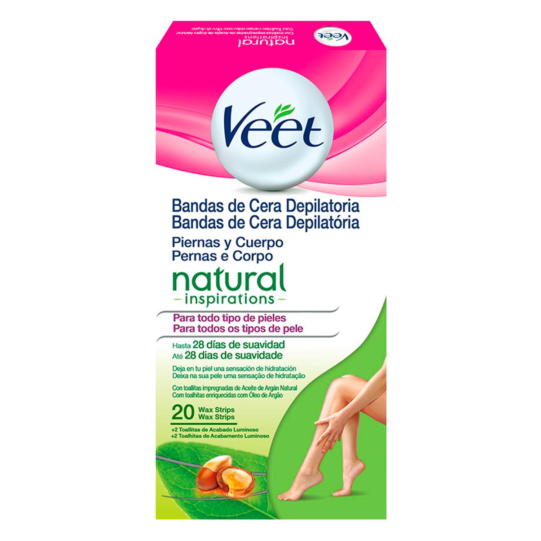 Bandas de cera depilatoria para piernas y cuerpo Veet 20 ud.