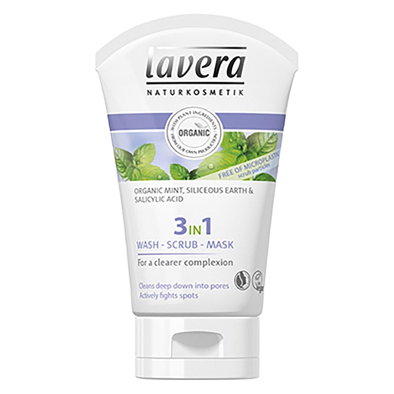 Gel 3 en 1 Limpiador, exfoliante y mascarilla ecológico Lavera 125 ml.
