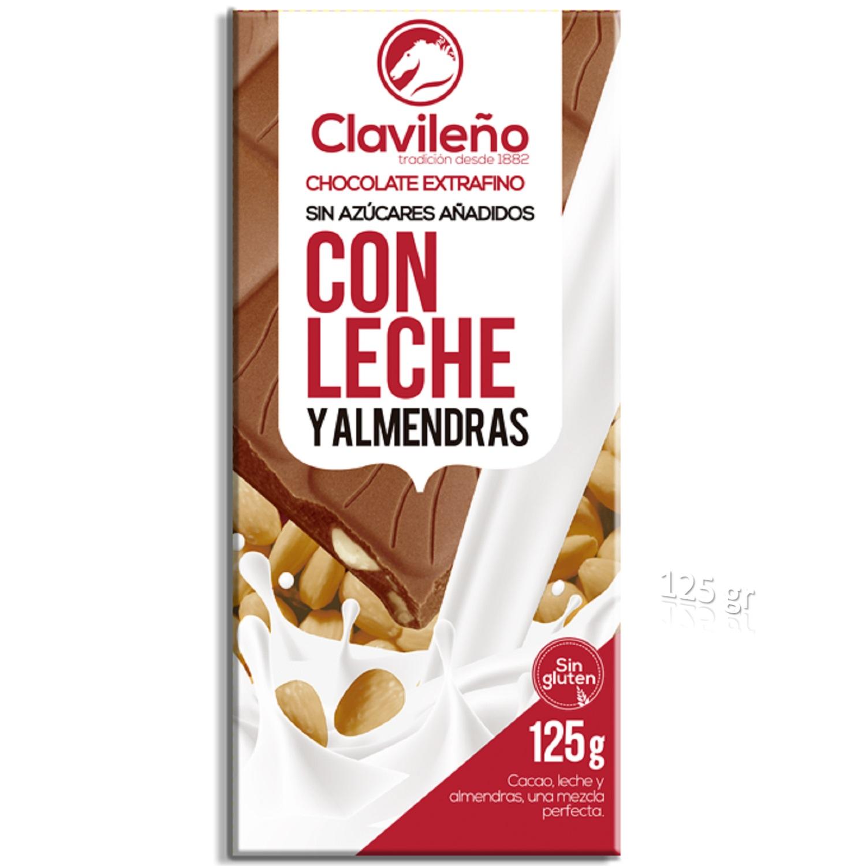 Chocolate con leche y almendras sin azúcar